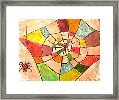 Framed Print featuring the painting Quilted Web by Angelique Bowman