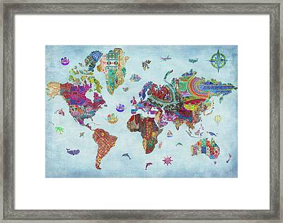 Quilted World Map Framed Print