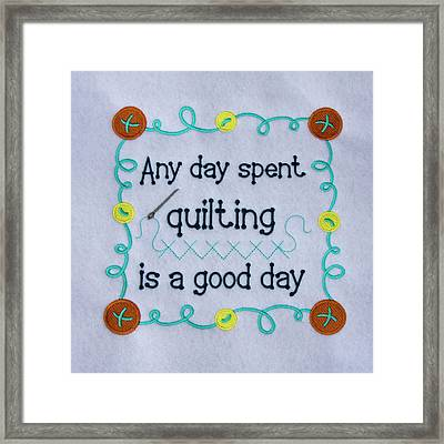 Quilting Sign Framed Print