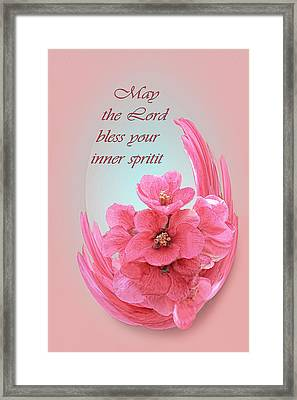 Quince Blossom Abstract Blessing Framed Print by Linda Phelps