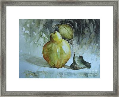 Framed Print featuring the painting Quince... by Elena Oleniuc