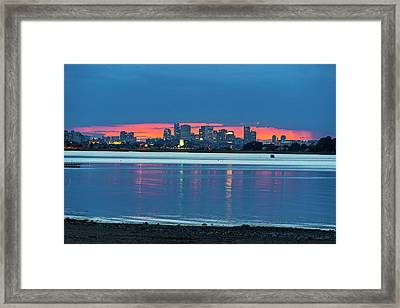 Quincy Ma Red Sunset Behind The Boston Skyline Wollaston Beach Framed Print