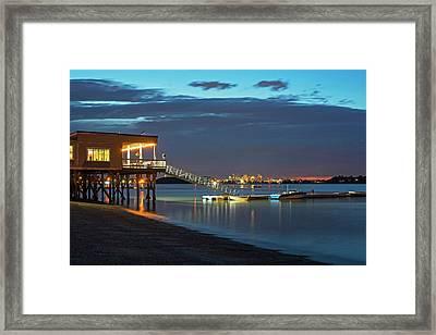 Quincy Ma Wollaston Beach As Dusk Framed Print