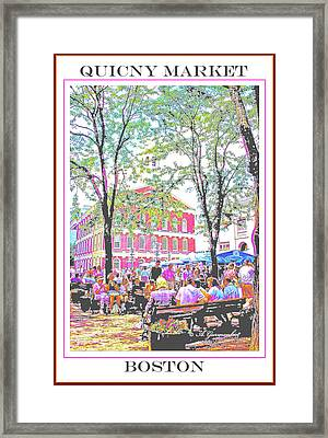 Quincy Market, Boston Massachusetts, Poster Image Framed Print