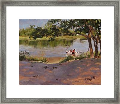 Framed Print featuring the painting Quincy's Hidden Gem by Laura Lee Zanghetti