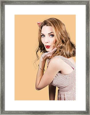 Quirky Portrait Of A Posing 50s Girl In Pinup Style Framed Print