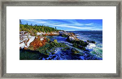 Quoddy Coast With Snow Framed Print