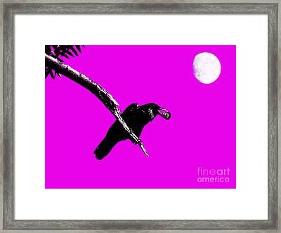 Quoth The Raven Nevermore . Magenta Framed Print by Wingsdomain Art and Photography