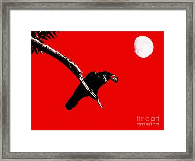 Quoth The Raven Nevermore . Red Framed Print