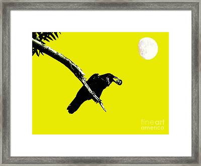 Quoth The Raven Nevermore . Yellow Framed Print by Wingsdomain Art and Photography