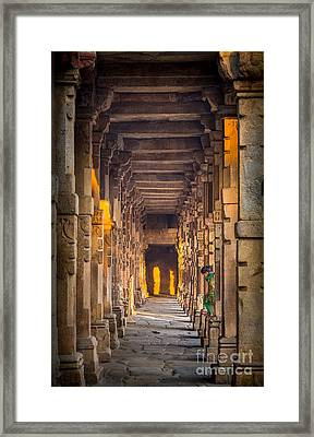 Qutab Minar Hidden Boy Framed Print