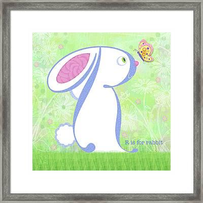 R Is For Rabbit Framed Print