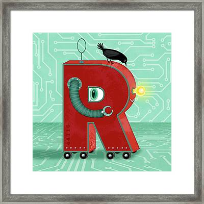 R Is For Robot Framed Print