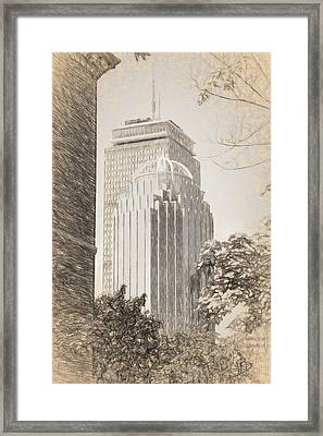 R2d2 Building And The Prudential Center Framed Print