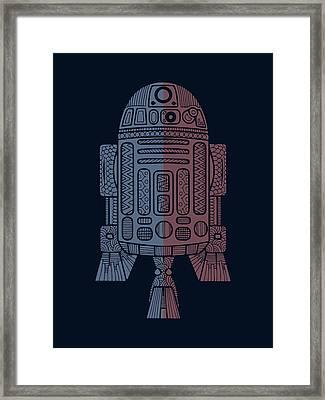 R2d2 - Star Wars Art - Blue, Red Framed Print