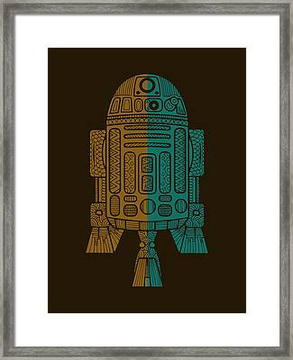 R2d2 - Star Wars Art - Brown, Blue Framed Print