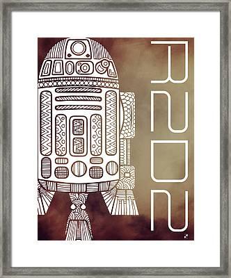 R2d2 - Star Wars Art - Brown Framed Print