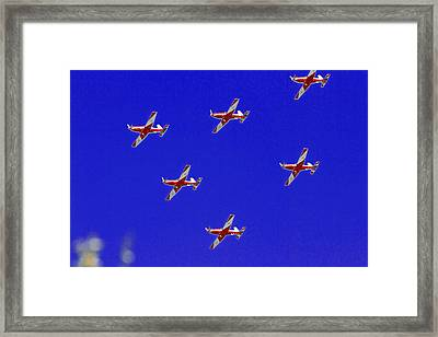 Raaf Roullettes Flying Across North Head Sydney Framed Print