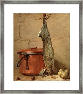 Rabbit And Copper Pot Framed Print