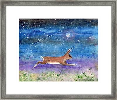 Framed Print featuring the painting Rabbit Crossing The Galaxy by Doris Blessington