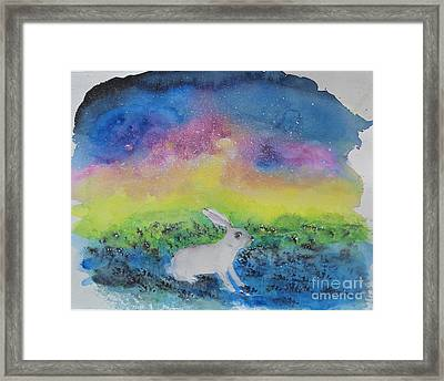 Framed Print featuring the painting Rabbit In Galaxy 5 by Doris Blessington