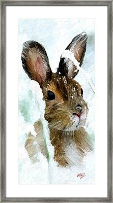 Framed Print featuring the painting Rabbit In Snow by James Shepherd