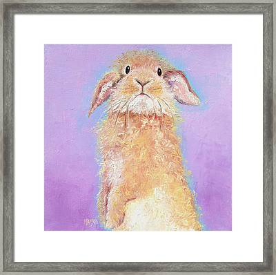Rabbit Painting - Babu Framed Print by Jan Matson