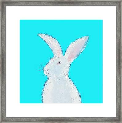Rabbit Painting - White Bunny On Blue Framed Print by Jan Matson