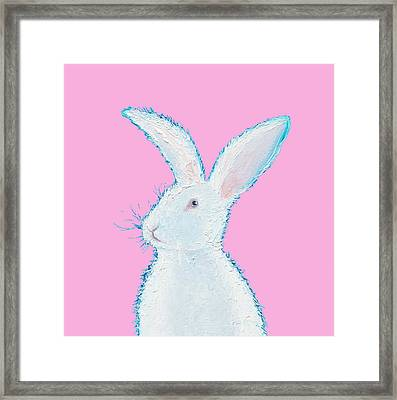 Rabbit Painting - White Bunny On Pink Framed Print by Jan Matson
