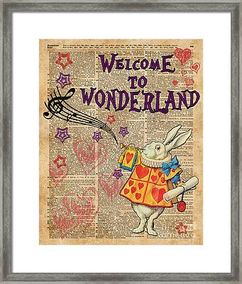 Rabbit Welcome To .. Alice In Wonderland Framed Print