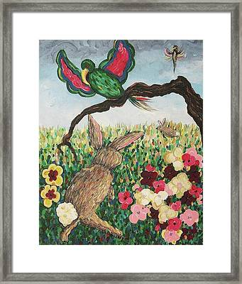 Rabbit With Broken Leg Framed Print by Suzanne  Marie Leclair