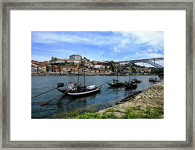 Rabelo Boats And Porto Skyline Framed Print by Marco Oliveira