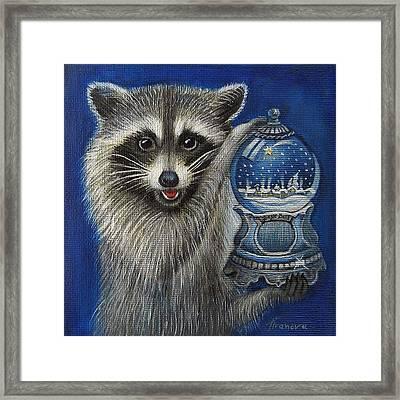 Raccoon - Christmas Star Framed Print by Temenuga Ivanova