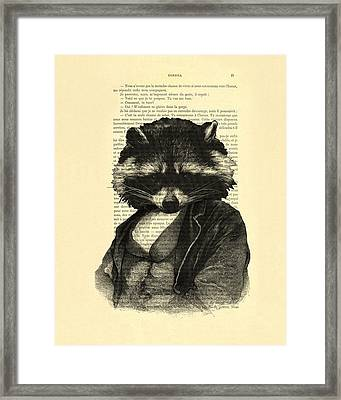 Raccoon Portrait, Animals In Clothes Framed Print by Madame Memento