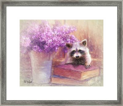 Raccoon Reader Framed Print by Tim Wemple