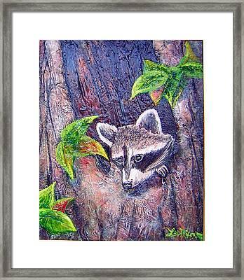 Raccoon's Sleepy Hollow Framed Print by Lee Nixon