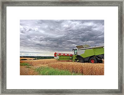Race Against Time - Harvesting Before The Storm Framed Print by Gill Billington