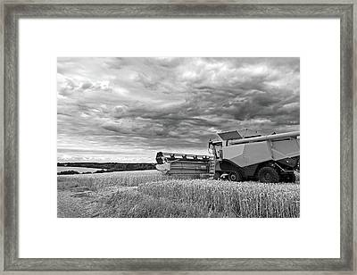 Race Against Time - Harvesting Before The Storm In Black And White Framed Print by Gill Billington