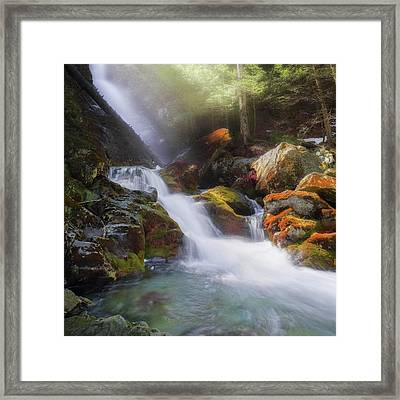 Framed Print featuring the photograph Race Brook Falls 2017 Square by Bill Wakeley