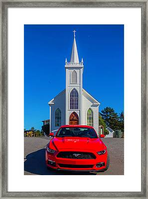 Race Car Red Mustang Framed Print by Garry Gay