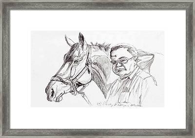 Race Horse And Owner Framed Print by Nancy Degan
