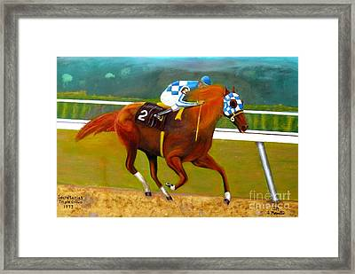 Race Horse Secretariat Triple Crown Winner 1973 Original Oil Painting  Framed Print