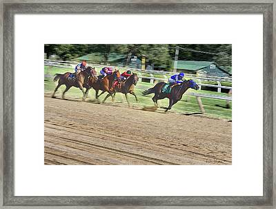 Race Horses In Motion Framed Print