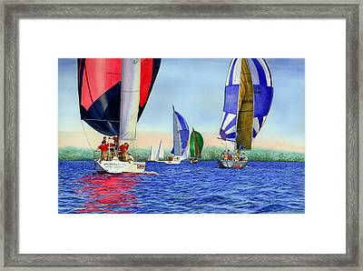 Race Night Colors Framed Print by Marguerite Chadwick-Juner