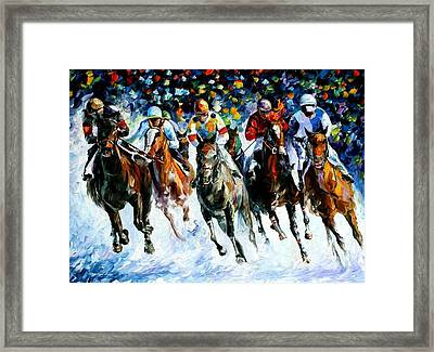 Race On The Snow Framed Print by Leonid Afremov