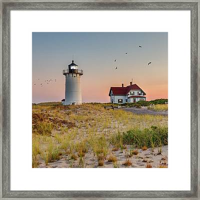 Race Point Light Cape Cod Square Framed Print