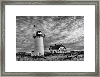Race Point Lighthouse Sunset Bw Framed Print by Susan Candelario