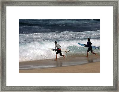 Race To The Waves Framed Print