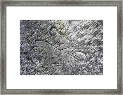 Racer On A Motorbike - Old Rock Relief Framed Print by Michal Boubin