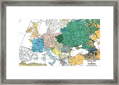 Racial Map Of Europe Circa 1923 Framed Print
